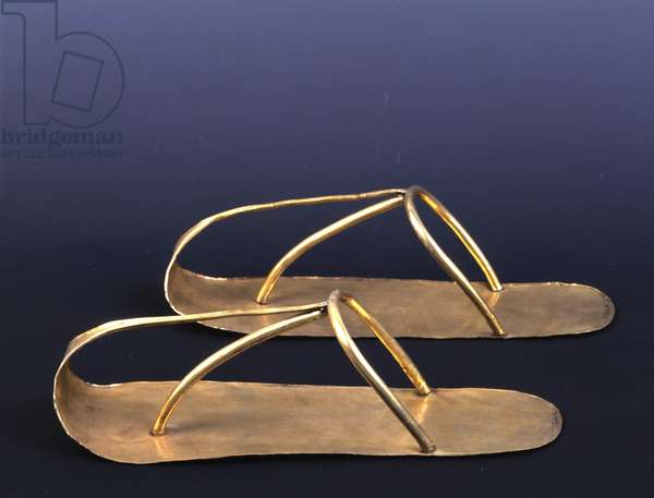 Cairo Museum of Egypt Sandals of Chechonq II, Gold, Tanis