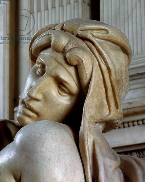 Tomb of Lorenzo de Medicis, personification of the Dawn (detail), 1520-1534. Sculpture of the Renaissance by Michelangelo Buonarroti called Michel Ange (Michelangelo or Michelangelo, 1475-1564). Church of San Lorenzo, Florence.
