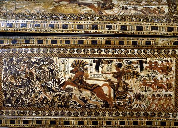 Painted box with Tutankhamun chasing Nubians on his chariot (detail) - Museum of Egypt, Cairo