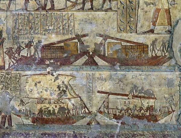 Elkab Tomb of Paheri Boarding and Transport of Grains
