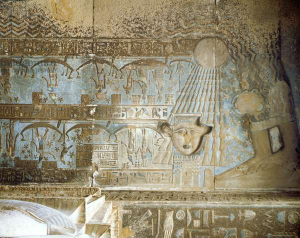 Denderah Temple of Hathor Ceiling Room Hypostyle - Nut Creates the Sun and Gives Light Temple