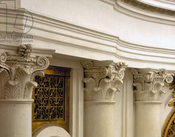 Baroque art: Interior. Chapel of the Church of San Carlo alle Quattro Fontane (Saint Charles of the Four Fountains). Architecture by Francesco Borromini (1599-1667), 1665-1667. Rome