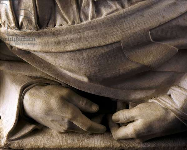 Tomb of Jules II: hands (detail). Sculpture of the Renaissance by Michelangelo Buonarroti called Michael Angel (Michelangelo or Michelangelo, 1475-1564), 1513-1545. Church of San Pietro in Vincoli, Rome.