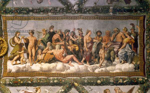 The Council of the Gods Jupiter accepts marriage between Cupid and Psyche. On the left, Mercury tends a cup of ambrosia to Psychee in order to make it immortal. Fresco by Raffaello Sanzio dit Raphael (1483-1520) (and entourage) 1518. Loge d'Amour et Psyche (Loggia di Amore e Psiche) Villa Farnesina, Rome. RA 21