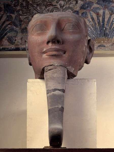 Egyptian antiquite: gre head of Queen Hatshepsut (Hatshepsut) wearing a false beard. 18th dynasty, New Empire. coming from Karnak. Museum of Egypt, Cairo