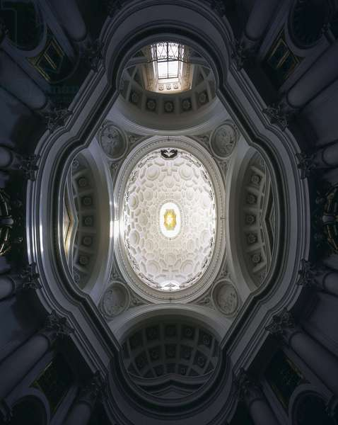 Baroque art: dome and vault of the Church of San Carlo alle Quattro Fontane (Saint Charles of the Four Fountains). Architecture by Francesco Borromini (1599-1667), 1665-1667. Rome