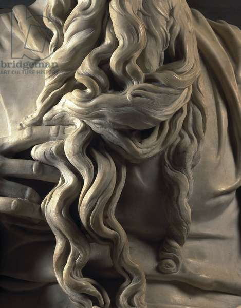 Renaissance art: Beard of Moses, Detail of the Mausolee of Jules II to L'Eglise San Pietro in Vincoli, Chapel della Rovere in Rome. Sculpture by Michelangelo Buonarroti called Michelangelo (Michelangelo or Michelangelo, 1475 - 1564), 1513-1545