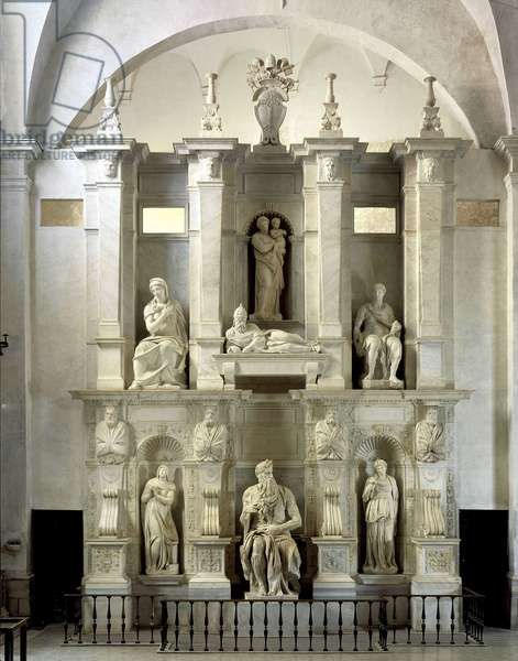 Mausolee of Jules II seen as a whole, 1513-1545. Sculpture of the Renaissance by Michelangelo Buonarroti called Michel Ange (Michelangelo or Michelangelo, 1475-1564). San Pietro in Vincoli, Rome.