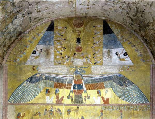 Painting of the Sarcophagus Hall - Thebes, Valley of the Kings Tomb of Queen Taousret (n° 14)