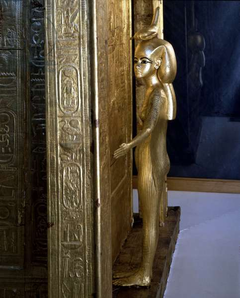 Museum of Cairo, Egypt: Goddess Selket on the canopy box of Tutankhamun.