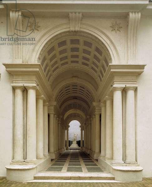 Gallery Prospettica, Palazzo Spada, Rome. Baroque architecture by Francesco Borromini, 1632-1635.