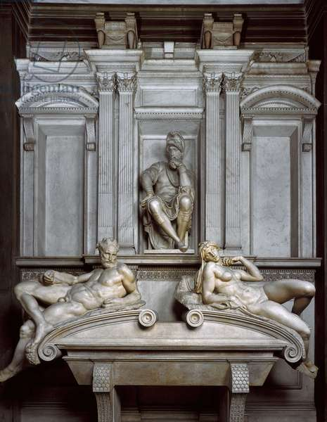 Tomb of Lorenzo de Medicis, 1520-1534. Sculpture of the Renaissance by Michelangelo Buonarroti called Michel Ange (Michelangelo or Michelangelo, 1475-1564). Church of San Lorenzo, Florence.