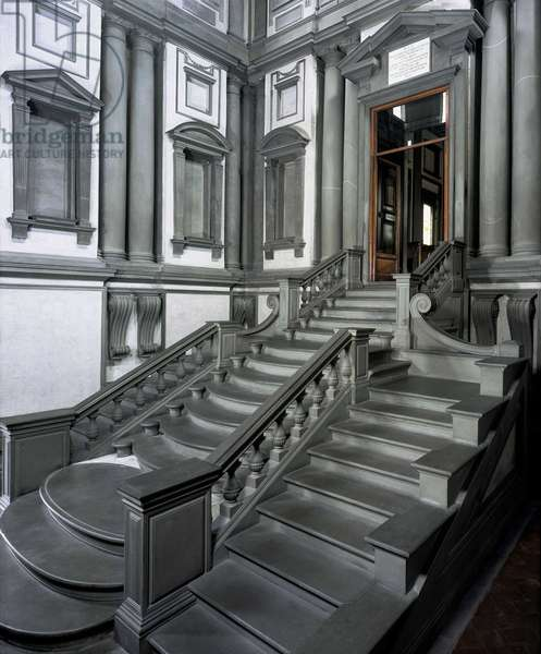 Staircase of the vestibule of the Laurentian Library (Biblioteca Medicea Laurenziana) in Florence. Renaissance architecture by Michelangelo Buonarroti called Michael Angel (Michelangelo or Michelangelo, 1475-1564), 1524-68.
