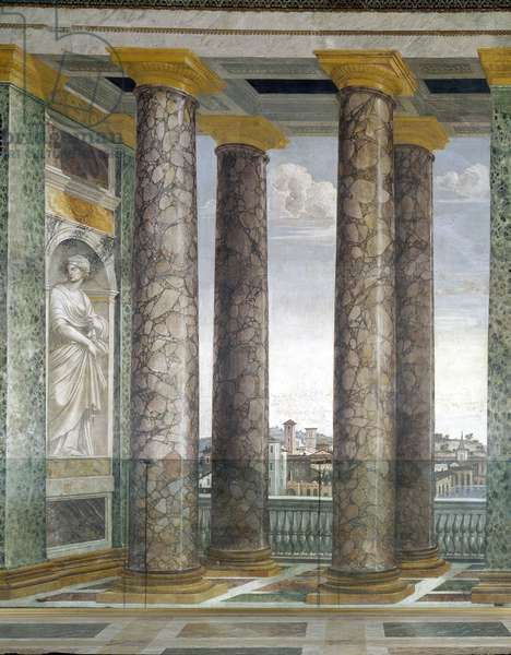 Art mannierism. Salon of the perspective of Villa Farnesina in Rome. Column of architecture and view of the city of Rome in trompe l'oeil. Painting by Baldassarre Peruzzi (1481-1537), 1517-1518. Fresco