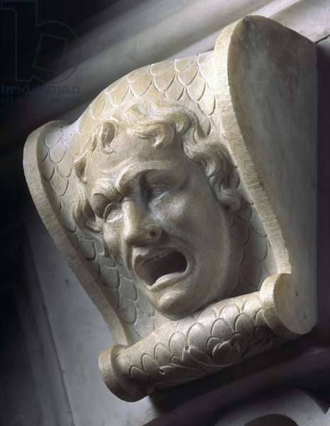 Tomb of Jules II (detail): face of a howling man. Sculpture of the Renaissance by Michelangelo Buonarroti called Michael Angel (Michelangelo or Michelangelo, 1475-1564), 1513-1545. Church of San Pietro in Vincoli, Rome.
