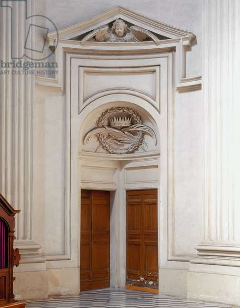 Baroque Art: Gate of the Church of Sant' Ivo alla Sapienza, Rome. Architecture by Francesco Borromini (1599-1667), 1642-1660