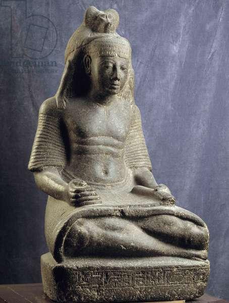 Ancient Egypt: Ramsesnakht writes inspired by the god Thot, Karnak. Cairo, Museum of Egypt.