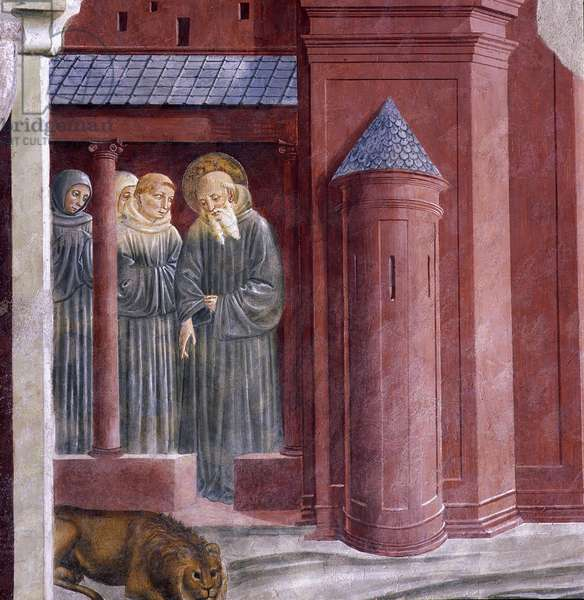 Saint Jerome shows the lion to the monks. Story of Saint Jerome. Fresco of the Church of San Francesco. Painting by Benozzo Gozzoli (1420-1497), 1452. Montefalco, Italy. UM 57B.