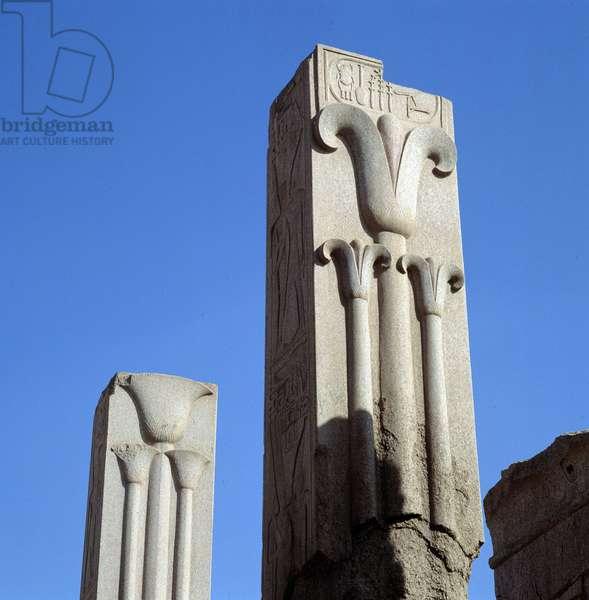 Karnak: Temple of Amon, Pillars with lotus and papyrus