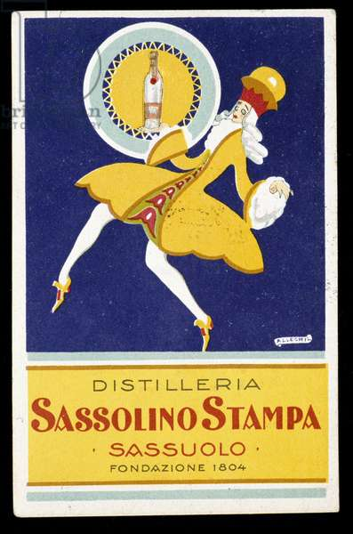 Advertising for the liqueur Sassolino Stampa produced in Italy. Author unidentified. 20th century