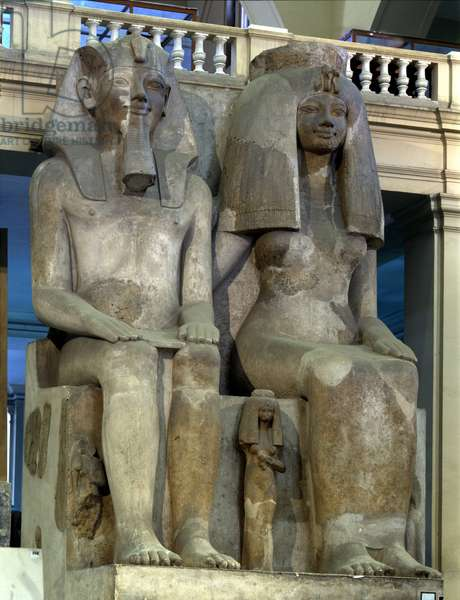 Amenophis III and Queen Tiy, colossal group - Museum of Egypt, Cairo