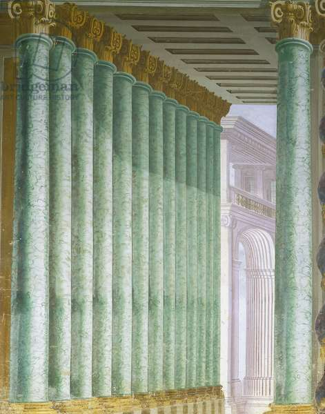 Baroque Art: Fresco with perspective of column in trompe l'oeil (trompe-l'oeil) Architecture by Ferdinando Galli da Bibiena (1657-1743). Villa Paveri Fontana, Collecchio in Italy
