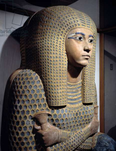 Egyptian antiquite: outside coffin (sarcophagus) of Queen Meritamon, wife of Amenhotep I. It is made of wood incrusted with Lapis-lazuli. Coming from Deir el Bahari. 19th dynasty, New Empire. Museum of Egypt, Cairo.