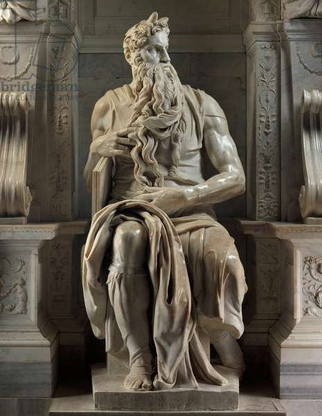 Mausoleum of Jules II: Moses, 1513-1545. Sculpture of the Renaissance by Michelangelo Buonarroti called Michelangelo (Michelangelo or Michelangelo, 1475 - 1564). Church of San Pietro in Vincoli, Rome.