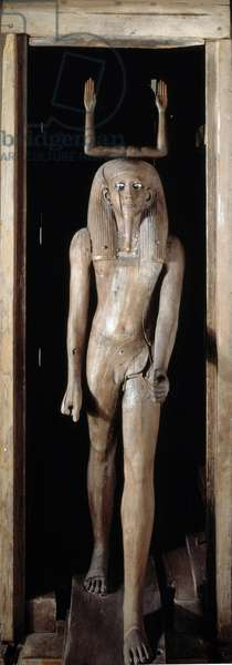 Egyptian antiquite: wooden Ka statue of King Auib-Re-Hor. The Ka is the vital force sheltering the body during life, symbolized by both arms. Coming from Dahshur. 13th dynasty, Middle Empire. Museum of Egypt, Cairo