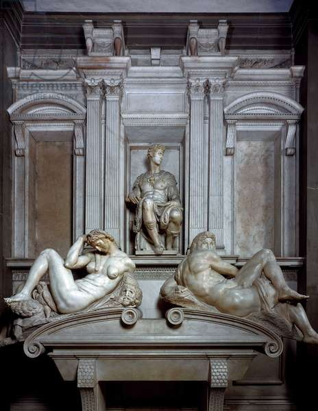 Tomb of Giuliano de Medici (Julian de Medici) depicts as emperor, 1520-1534. Sculpture of the Renaissance by Michelangelo Buonarroti called Michel Ange (Michelangelo or Michelangelo, 1475-1564). Church of San Lorenzo, Florence.