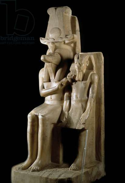 Egyptian antiquite: calcite sculpture depicting Pharaoh Amenhotep (Amenophis) III and the god Sobek (or Sebek). 1403-1365 BC. From Dahamsha. 28th dynasty. Museum of Egyptian Art Luxor (Luksor)