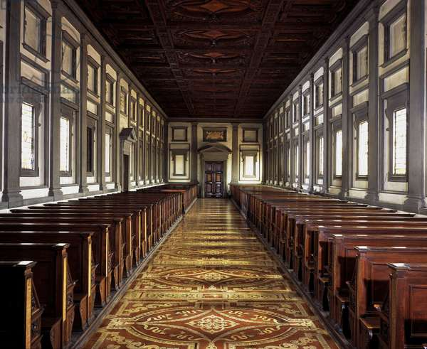 Reading room of the Laurentian Library (Biblioteca Medicea Laurenziana) in Florence. Renaissance architecture by Michelangelo Buonarroti called Michael Angel (Michelangelo or Michelangelo, 1475-1564), 1524-68.