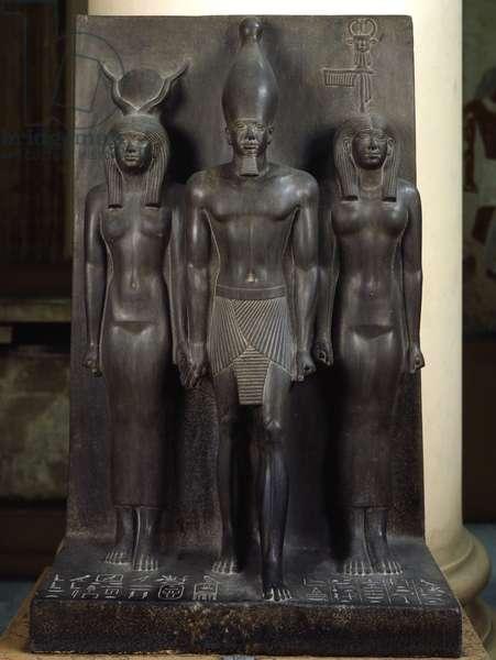 Triad of Mykerinos - 17° nomoi, Shale, Giza - Museum of Egypt, Cairo