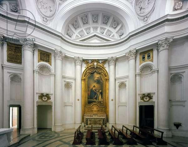 Baroque art: Interior right side of the Church of San Carlo alle Quattro Fontane (Saint Charles of the Four Fountains). Architecture by Francesco Borromini (1599-1667), 1665-1667. Rome