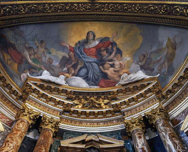 Baroque Art: The Ascension of the Virgin. Fresco of the Church of Santa Maria in via Lata, Rome, Italy. Painting of the 17th century.