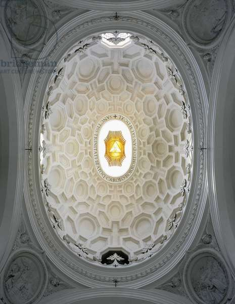 Cupola inside the Church of San Carlo alle Quattro Fontane, Rome. Baroque architecture by Francesco Borromini, 1665-67.