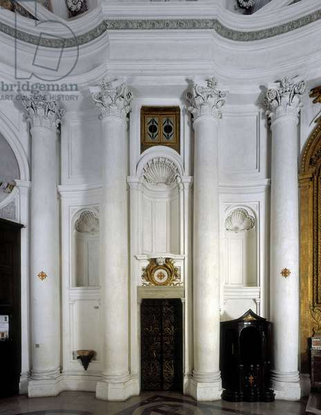 Baroque art: Interior Location of the confessional of the Church of San Carlo alle Quattro Fontane (Saint Charles of the Four Fountains). Architecture by Francesco Borromini (1599-1667), 1665-1667. Rome