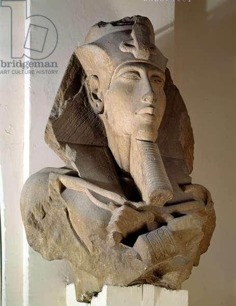 Cairo, Museum of Egypt: Bust of Akhenaton (Akhnaton) - Amenhotep IV, Sandstone, Karnak