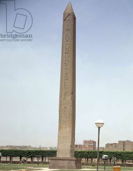 Antiquite Egyptian: view of the obelisch of Sesostris I (1964-1919 BC), 12th dynasty, Middle Empire, in Heliopolis. Egypt