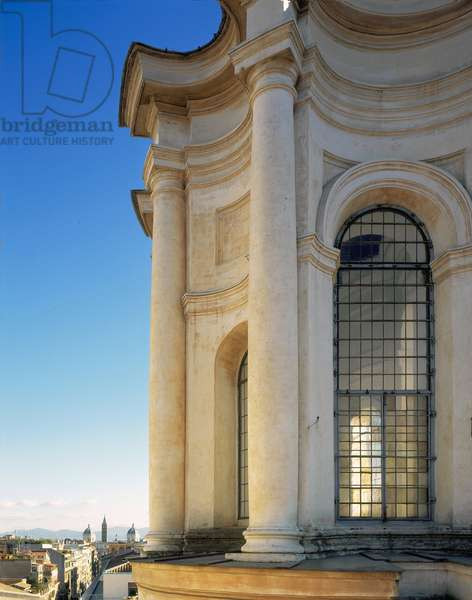 View from the outside of the Lanternino (small lantern) of the Church of San Carlo alle Quattro Fontane, Rome. Baroque architecture by Francesco Borromini, 1665-1667.