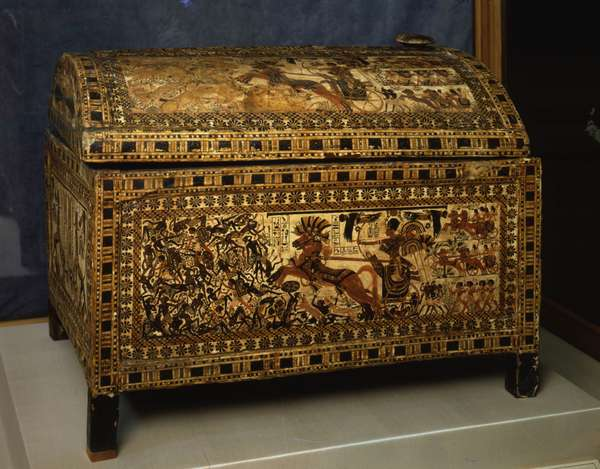 Painted box with Tutankhamun and battle scenes - Museum of Egypt, Cairo