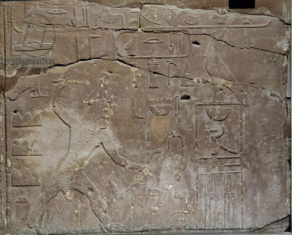 Ancient Egypt: Commemorative relief of King Snefrou. Cairo, Museum of Egypt.