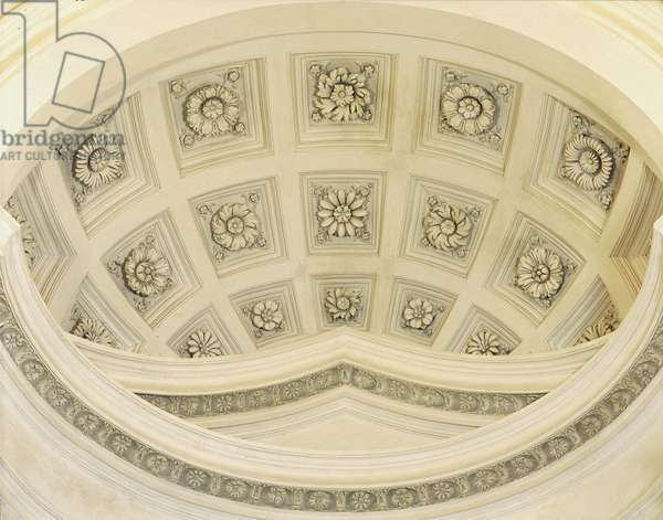 Baroque art: Interior vault above the main altar of the Church of San Carlo alle Quattro Fontane (Saint Charles of the Four Fountains). Architecture by Francesco Borromini (1599-1667), 1665-1667. Rome