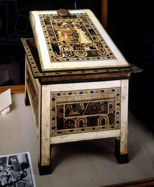 Museum of Cairo, Egypt: Historical small piece of furniture from Tutankhamun.