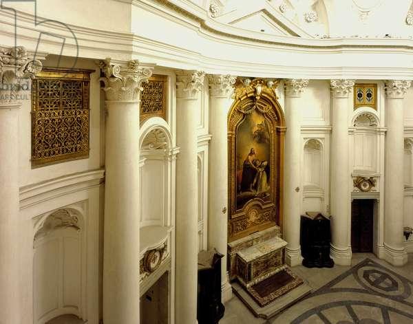 Baroque art: Interior. Right side of the Church of San Carlo alle Quattro Fontane (Saint Charles of the Four Fountains). Architecture by Francesco Borromini (1599-1667), 1665-1667. Rome