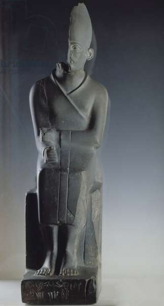 Antiquite Egyptian: slate statue of King Khasekhem, 2nd dynasty, Old Empire. Cairo, Museum of Egypt