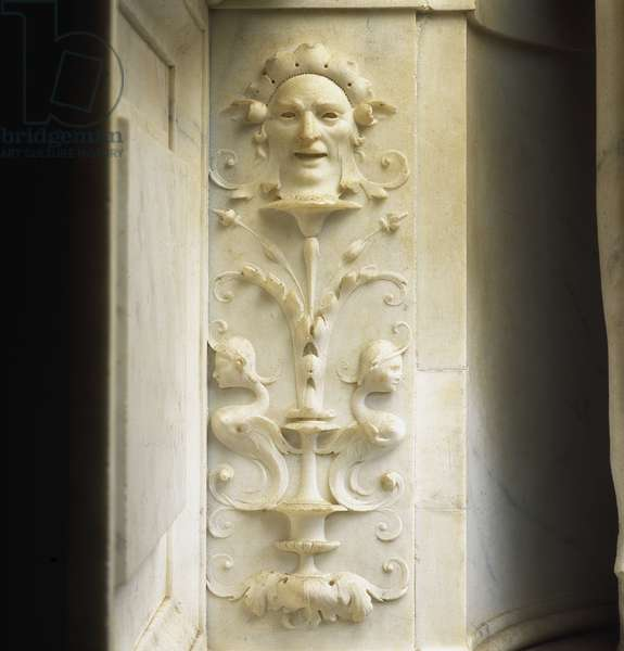 Decoration of the mausoleum of Jules II (Giuliano della Rovere or Julien della Rovere, Pope under the name of Jules II, 1443-1513). Church of San Pietro in Vincoli. Marble sculpture by Michelangelo Buonarroti called Michelangelo (Michelangelo or Michelangelo, 1475 - 1564), 1513-1545. Rome, Italy.