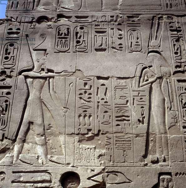 Karnak: Temple of Amon Walls - Ramses before the deities