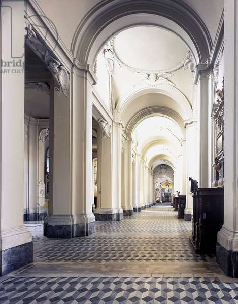 Baroque art: Central nave of the Church of San Giovanni in Laterano in Rome. Architecture by Francesco Borromini (1599-1667), 1647-1650