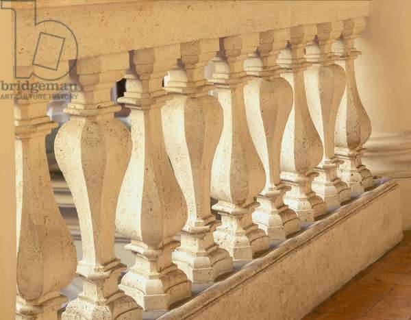 Baroque art: railing of the cloister of San Carlo alle Quattro Fontane (Saint Charles aux Quatre Fontaines), Rome. Architecture by Francesco Borromini (1599-1667), 1665-1667